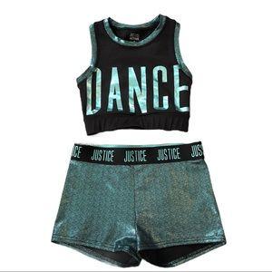 JUSTICE Dance Set Shorts Tank Sports Bra Gymnast